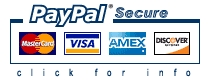 PayPal 128-bit Secure Socket Encryption Technology. We accept MasterCard, VISA, American Express, Discover
